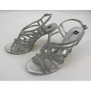 Browns Silver Glitter Ankle Strap Heels Sandals